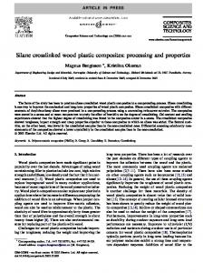 Silane crosslinked wood plastic composites: processing and properties
