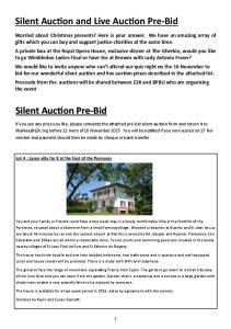 Silent Auction and Live Auction Pre-Bid