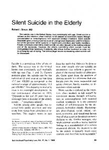 Silent Suicide in the Elderly