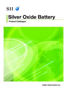 Silver Oxide Battery. Product Catalogue