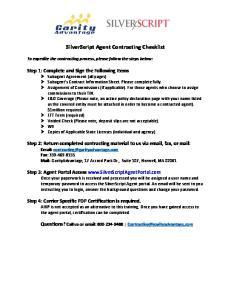 SilverScript Agent Contracting Checklist