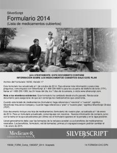 SilverScript Formulario 2014 (Lista de medicamentos cubiertos)
