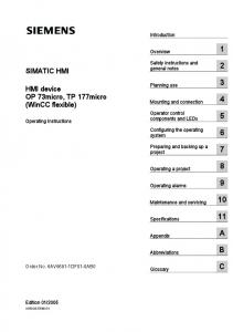 SIMATIC HMI. HMI device OP 73micro, TP 177micro (WinCC flexible) Introduction. Overview 1. Safety instructions and general notes