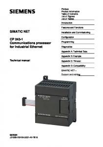 SIMATIC NET. CP Communications processor for Industrial Ethernet. Technical manual