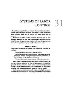 SIMPLE CONTROL. 1Systems of Labor