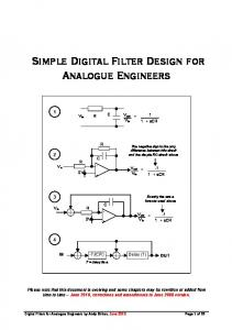 Simple Digital Filter Design for Analogue Engineers