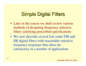 Simple Digital Filters