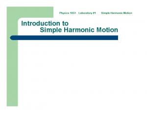 Simple Harmonic Motion. Introduction to