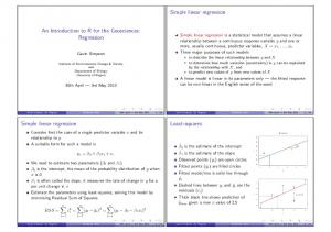 Simple linear regression. An Introduction to R for the Geosciences: Regression. Least-squares. Simple linear regression
