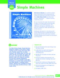 Simple Machines. Reader. Students will