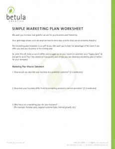SIMPLE MARKETING PLAN WORKSHEET