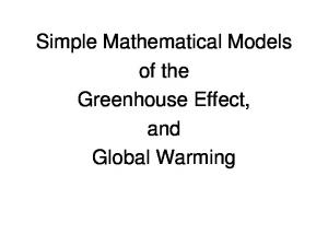 Simple Mathematical Models of the Greenhouse Effect, and Global Warming