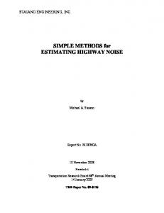 SIMPLE METHODS for ESTIMATING HIGHWAY NOISE