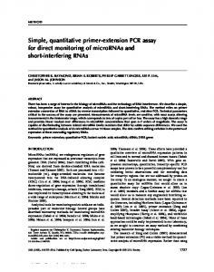 Simple, quantitative primer-extension PCR assay for direct monitoring of micrornas and short-interfering RNAs
