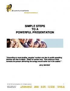 SIMPLE STEPS TO A POWERFUL PRESENTATION