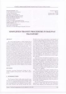 SIMPLIFIED TRANSIT PROCEDURE IN RAILWAY TRANSPORT