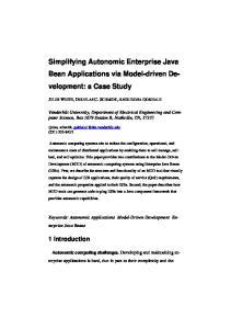 Simplifying Autonomic Enterprise Java Bean Applications via Model-driven Development: