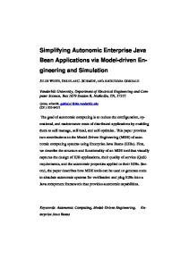Simplifying Autonomic Enterprise Java Bean Applications via Model-driven Engineering
