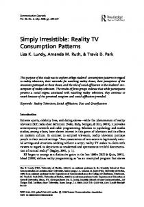 Simply Irresistible: Reality TV Consumption Patterns