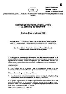 SIMPOSIO SOBRE CONTRATOS RELATIVOS AL DERECHO DE OBTENTOR. Ginebra, 31 de octubre de 2008