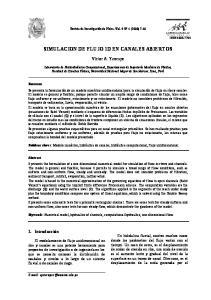 SIMULACION DE FLUJO 1D EN CANALES ABIERTOS