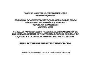 SIMULACIONES DE SUBASTAS Y NEGOCIACION