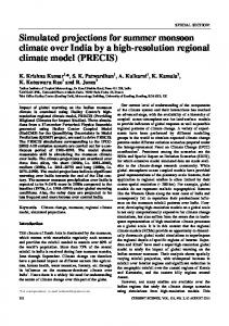 Simulated projections for summer monsoon climate over India by a high-resolution regional climate model (PRECIS)