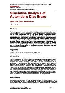 Simulation Analysis of Automobile Disc Brake