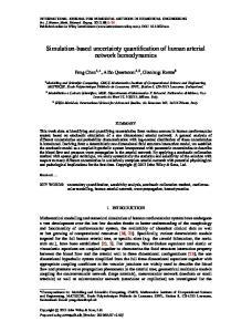 Simulation-based uncertainty quantification of human arterial network hemodynamics