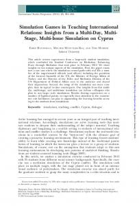 Simulation Games in Teaching International Relations: Insights from a Multi-Day, Multi- Stage, Multi-Issue Simulation on Cyprus
