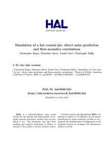 Simulation of a hot coaxial jet: direct noise prediction and flow-acoustics correlations
