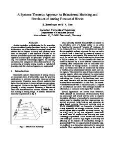 Simulation of Analog Functional Blocks. Darmstadt University of Technology. Alexanderstr. 10, D Darmstadt, Germany