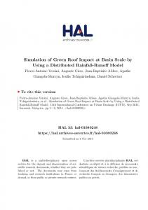Simulation of Green Roof Impact at Basin Scale by Using a Distributed Rainfall-Runoff Model