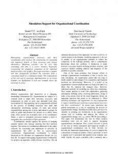 Simulation Support for Organizational Coordination