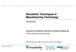 Simulation Techniques in Manufacturing Technology