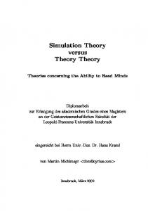 Simulation Theory versus Theory Theory