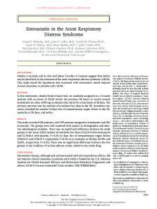 Simvastatin in the Acute Respiratory Distress Syndrome