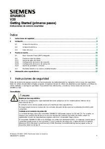 SINAMICS V20 Getting Started (primeros pasos) Instrucciones de servicio resumidas