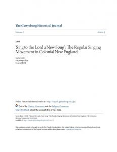 'Sing to the Lord a New Song': The Regular Singing Movement in Colonial New England