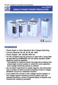 SINGLE PHASE POWER REGULATOR