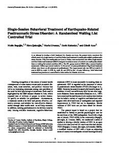 Single-Session Behavioral Treatment of Earthquake-Related Posttraumatic Stress Disorder: A Randomized Waiting List Controlled Trial