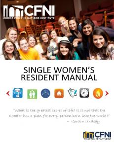 SINGLE WOMEN S RESIDENT MANUAL