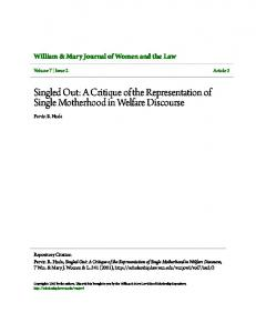 Singled Out: A Critique of the Representation of Single Motherhood in Welfare Discourse