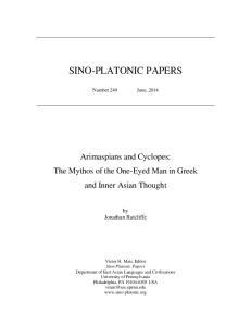 SINO-PLATONIC PAPERS
