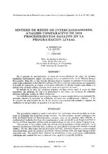 SINTESIS DE REDES DE INTERCAMBIADORES. ANALISIS COMPARATIVO DE DOS PROCEDIMIENTOS BASADOS EN LA PROGRAMACION LINEAL