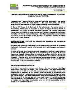 SINTESIS EJECUTIVA DE LA MANIFESTACION DE IMPACTO AMBIENTAL MODALIDAD REGIONAL PARA EL PROYECTO: