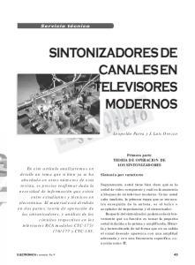 SINTONIZADORES DE CANALES EN TELEVISORES MODERNOS