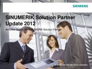 SINUMERIK Solution Partner Update 2012