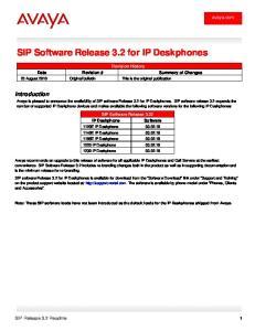 SIP Software Release 3.2 for IP Deskphones