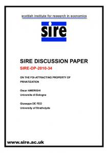 SIRE DISCUSSION PAPER